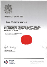 Direct Waste Management Ltd Peterhead North East Scotland Our Certification British Safety Council Membership