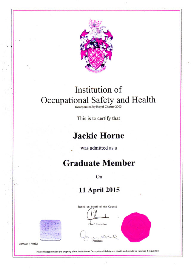 Direct Waste Management Ltd Peterhead North East Scotland Our Certification IOSH Graduate Master